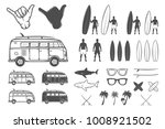set of vintage summer surfing... | Shutterstock . vector #1008921502