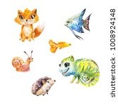 watercolor set of little cute... | Shutterstock . vector #1008924148