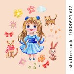 set of anime stickers drawn in...   Shutterstock . vector #1008924502