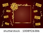 gold frame with gift bow... | Shutterstock .eps vector #1008926386