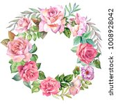 flowers wreath with watercolor... | Shutterstock . vector #1008928042