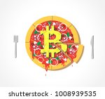 appetizing vector bitcoin pizza ... | Shutterstock .eps vector #1008939535