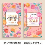 flyers for spring sales in gold ... | Shutterstock .eps vector #1008954952