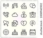 valentine's day line icons set... | Shutterstock .eps vector #1008960502