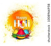 holi  colorful happy holi... | Shutterstock .eps vector #1008966958