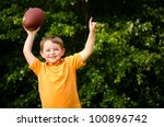 child with football celebrating ... | Shutterstock . vector #100896742