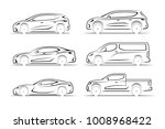 set of car silhouettes. side... | Shutterstock . vector #1008968422