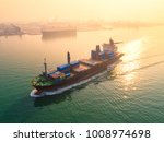 container ship in export and... | Shutterstock . vector #1008974698