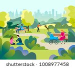 people   in  urban park  city... | Shutterstock .eps vector #1008977458