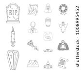 funeral ceremony outline icons... | Shutterstock .eps vector #1008995452