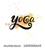 yoga vector logo on yellow and... | Shutterstock .eps vector #1009000645