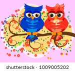 two owls on blossoming tree... | Shutterstock .eps vector #1009005202