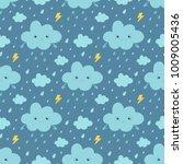 rainy weather seamless pattern... | Shutterstock .eps vector #1009005436