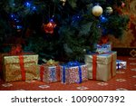 many christmas gifts under the... | Shutterstock . vector #1009007392