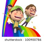 children riding the rainbow | Shutterstock . vector #100900786