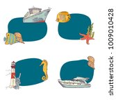 Vector sketched sea stickers set isolated om white backgorund illustration