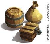 vector set of wooden box ... | Shutterstock .eps vector #1009033498