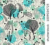 seamless pattern with seaweed... | Shutterstock .eps vector #1009034725