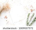 top view of worktable with mock ... | Shutterstock . vector #1009037572