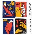jazz music festival poster set. ... | Shutterstock .eps vector #1009042585