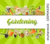 background with garden tools... | Shutterstock .eps vector #1009043392