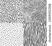set of black leopard  zebra... | Shutterstock .eps vector #1009052308