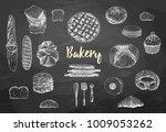 bakery set. bread vector hand... | Shutterstock .eps vector #1009053262
