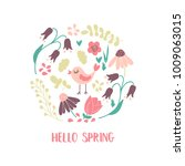'hello spring' card with the... | Shutterstock .eps vector #1009063015