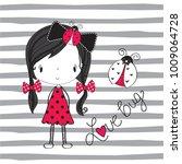 Cute Girl With Ladybug Vector...