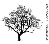 tree silhouette with the flown... | Shutterstock .eps vector #1009076425