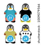 series of penguins numbered... | Shutterstock .eps vector #1009079566
