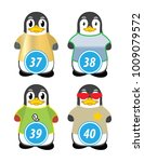 series of penguins numbered... | Shutterstock .eps vector #1009079572