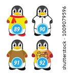 series of penguins numbered... | Shutterstock .eps vector #1009079596