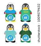 series of penguins numbered... | Shutterstock .eps vector #1009079632