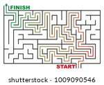 maze or labyrinth with solution.... | Shutterstock .eps vector #1009090546