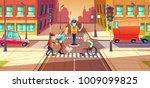 vector illustration of crossing ... | Shutterstock .eps vector #1009099825