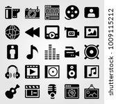 multimedia vector icon set.... | Shutterstock .eps vector #1009115212
