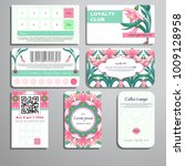 set of loyalty cards. pattern... | Shutterstock .eps vector #1009128958