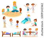 kindergarten characters flat... | Shutterstock .eps vector #1009142362