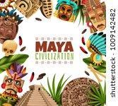 maya civilization cartoon frame ... | Shutterstock .eps vector #1009142482