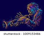 jazz trumpet player. vector... | Shutterstock .eps vector #1009153486
