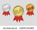 set of gold   bronze and silver.... | Shutterstock .eps vector #1009154485
