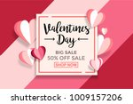 Valentines day sale background With Paper cut Love. Wallpaper, flyers, invitation, posters, brochure, voucher,banners. Vector Illustrator Eps. 10 | Shutterstock vector #1009157206