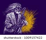 jazz saxophone player jazz... | Shutterstock .eps vector #1009157422