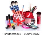 make up brushes in glass vase... | Shutterstock . vector #100916032
