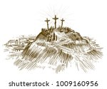 crucifixion jesus christ  son... | Shutterstock .eps vector #1009160956