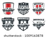Stock vector set of classic muscle car logo emblems and badges isolated on white background old american car 1009163878