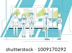 vector flat linear illustration ... | Shutterstock .eps vector #1009170292