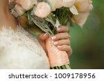 bride's hand holding brush of... | Shutterstock . vector #1009178956