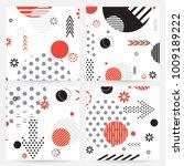 trendy memphis style geometric... | Shutterstock .eps vector #1009189222